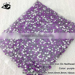 Flat back neon purple color iron on nailhead metal studs for nail art clothing DIY crafts