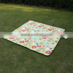 printed check polar fleece picnic blanket for camping, picnic, garden yard