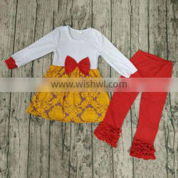 new arrival baby clothing set ruffle girls outfit autumn baby girls cotton outfit 2 pcs kids clothes set baby girls top and pant