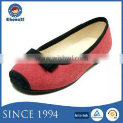 Chinese Sweet Mix Red Color Kids Belly Shoes with Bowknot