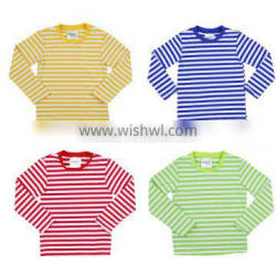 Wholesale 2016 striped color with solid color trim baby kids clothes boys long sleeve fall shirts