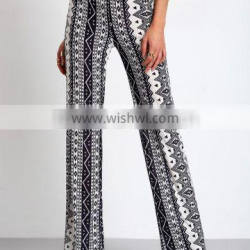 Spring fashion rayon beach long pants printed trousers