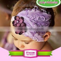 Hot sale Unique style many colors children soft curl girls peacock feather headband