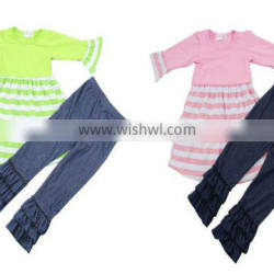 High Quality 2016 Wholesale Young Girl Fall Outfits Cotton Clothing Set Baby Girl Boutique Clothing Sets