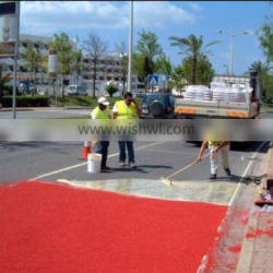 Road colored coating to make color skid reistance road paving