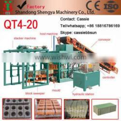 Shengya QT4-20 full automatically baking-free concrete block/paver making machines small scale industries in india China product