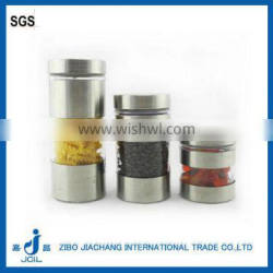 2016 high quality cylinder glass jar with stainless steel coating