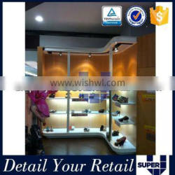 Tailor made Wall mounted Modern wooden shoe store display racks