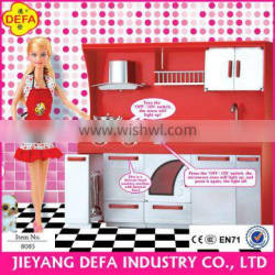 modern girl plastic dolls in kithchen room with cooking accessories / star doll girls like cooking in kitchen