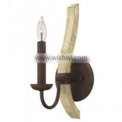 Factory hot sale UK style classic middlefield rustic distressed wood and rust iron wall light for indoor decoration