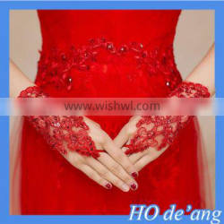 Hogift Sexy Fingerless Pearl Lace Gloves Bride Wedding Party Costume