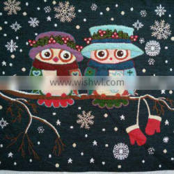 jacquard cushion polycotton cushion for home &hotel decoration &promotion&gift owl pattern-winter design-5