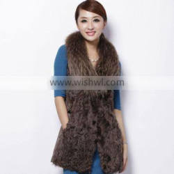 QD27995 Sheep Fur Vest Factory Direct Sale Sheep Fur & Leather Vests With Fox Fur Collar 2013 New Collection