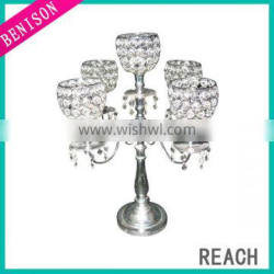 High quality 5 arms tall wedding candelabra centerpiece for tealight candle decoration