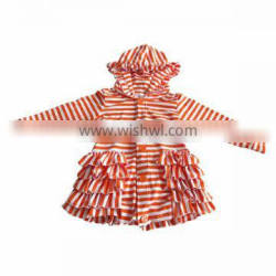 Wholesale 2016 Halloween fall winter warm style long sleeve orange white striped hoodie girls ruffle jackets