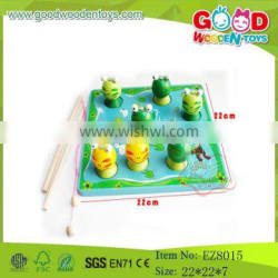 high quality wooden fishing game toys animal fishing game frog toys