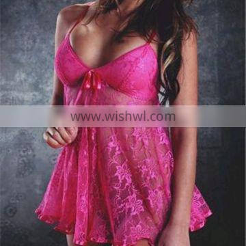 Wholesale New Fashion Lace Nightgown Plus Size Hot Sexy Women's Slip Lace Lingerie Babydoll