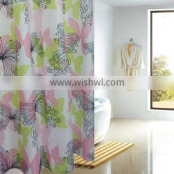 Mildew resistant 100% polyester butterfly printed shower curtain