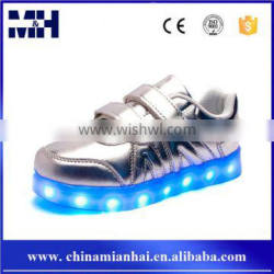 Anti Slip Flashing Lace Up Glowing Sliver Led Shoes With Lights For Kids