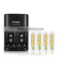 2016 HOT!!! RENEW S2 4Bay Quick Smart AA AAA Battery Charger with 4pcs 2950mAh AA Ni-MH Rechargeable Batteries