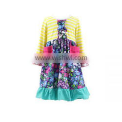 High quality flower print dress cotton dress beautiful long frocks images