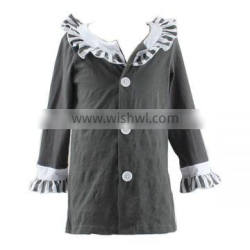 Wholesale OEM design stripes ruffle cotton clothes for kids long sleeve winter baby coat