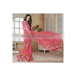 Groovy Hot Pink Georgette Saree/online indian saree shopping