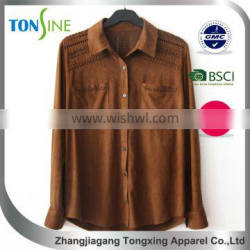 long sleeve suede for Wear rope Shirt