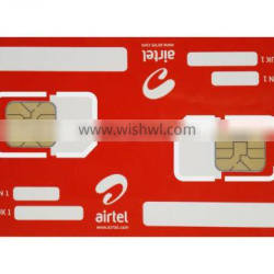 High Quality Mobile GSM SIM Card with dual chip for telecomm