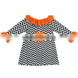 2016 newest kids halloween costumes handmade baby dress boutique fashion halloween dress long sleeve chevron dress