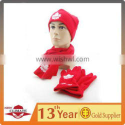 HAT, SCARF, GLOVE POLAR FLEECE SET WITH EMBROIDERY OR PRINTING