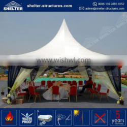 Top selling maximum wind loading 100km/h(0.5kn/sqm) 10x10 custom canopy top high peak party tents pagoda marquee