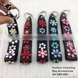 Fashion Multi colors metal flower pu leather charm pendant diy accessories for bags and handbags