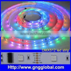 DC12V DMX512 Video effect addressable rgb led pixel strip, 30/60pcs dmx rgb led strip light