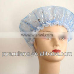 new 2PK blue and light red environmently friendly shower caps or hats for hotel and other places