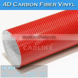 With Air Channels Guarantee 2 Years Red 4D Carbon Fiber Auto Films