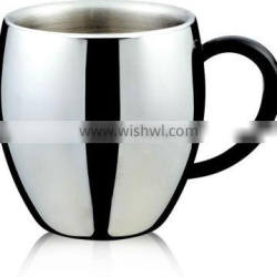 double wall metal beer cup/coffee cup with handle