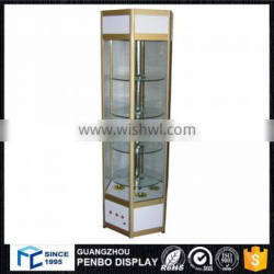 ODM OEM lighted round electric rotating glass tower display case for sales