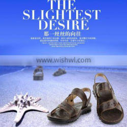 Genuine leather of Man beach shoes Sandals