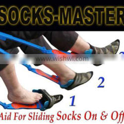 Best Selling 2016 Aiding Gadget Helps Put Socks On/Off with Shoehorn-Quality Adjustable - Great Physical Therapy Tool