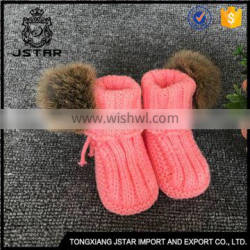 Superior Quality Knitting Handmade Funny Shoes Warm Baby Booties With Fur Ball