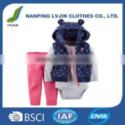 OEM High Quality Baby clothing sets ,Baby Girls' Dot 3-Piece Vest Set