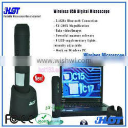 200 wireless bluetooth USB digital microscope for windows PC or laptop with measure pricision up 99%, pcb inspection microscope