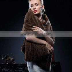 New Fashion Wholesale Genuine Knitted Mink Fur Poncho for Fashion Girls with Cheap Price