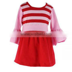2016 Kaiyo boutique pearl dress boutique red stripe ruffle dress with belt fall 2016 girls latest frock designs pictures