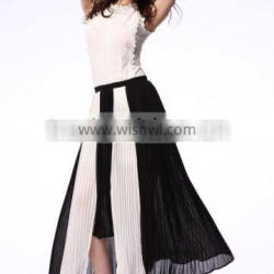 PLEATED MID-LENGTH SKIRT IRREGULAR DESIGN