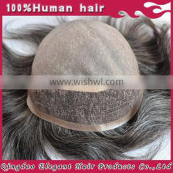 Elegant hair Wholesale Handpicked Natural Luster Human Hair Fine Mono Lace Toupee with pu back and side