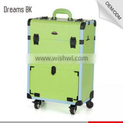 pvc trolley makeup case with wheels