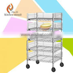 Five tiers commercial industrial stainless steel kitchen tray dish trolley cart with wheels 2015 top sale