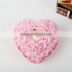 2014 new arrival love heart shaped wedding ring pillow with pearl pink pe rose wedding ring pillows for wedding favor